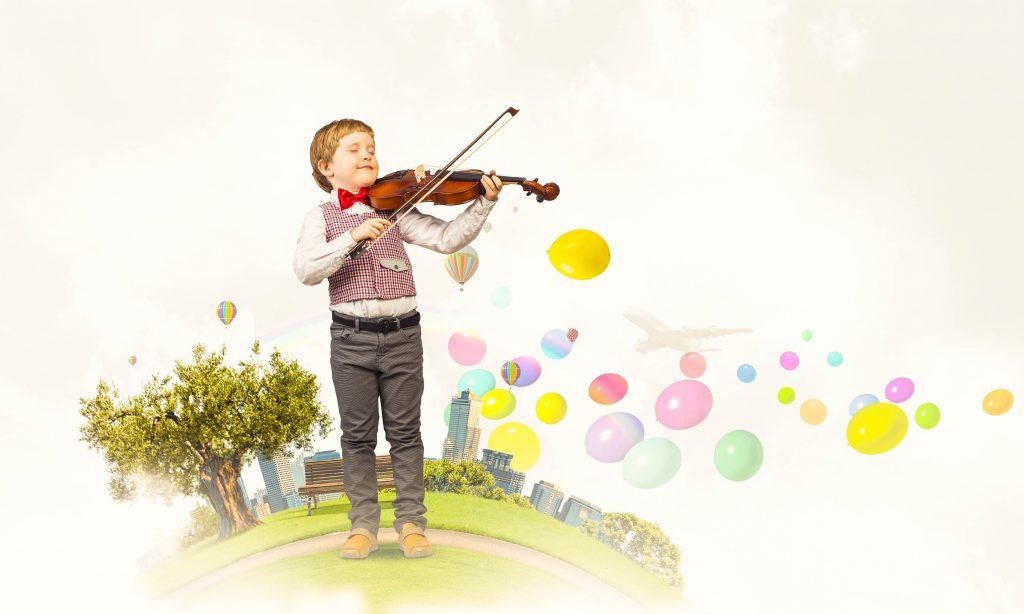 music school branding, little boy playing violin