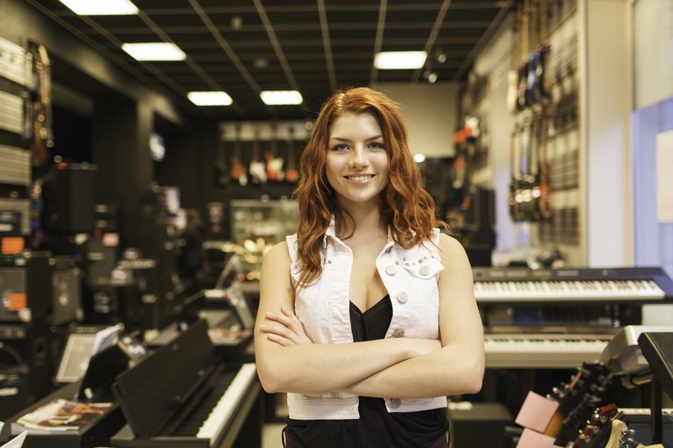 merchandise at your music school, music school store clerk