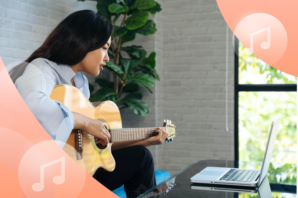 music school, girl with a guitar and a computer