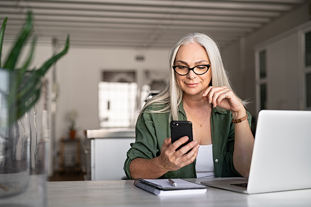 build your business, women texts with phone