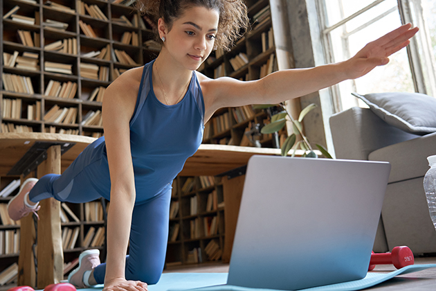 Q and A, fit sporty girl doing a virtual class
