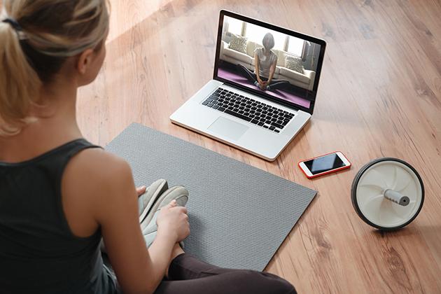 artificial intelligence, yoga teacher conducting virtual class