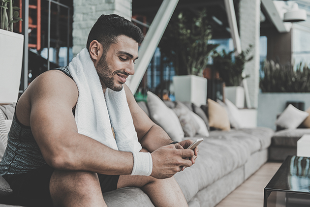 fitness business, man sending a text