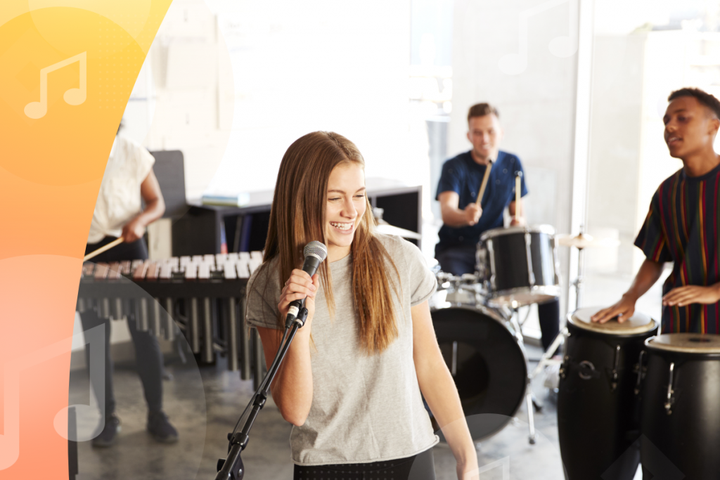 music studio clients, band at school