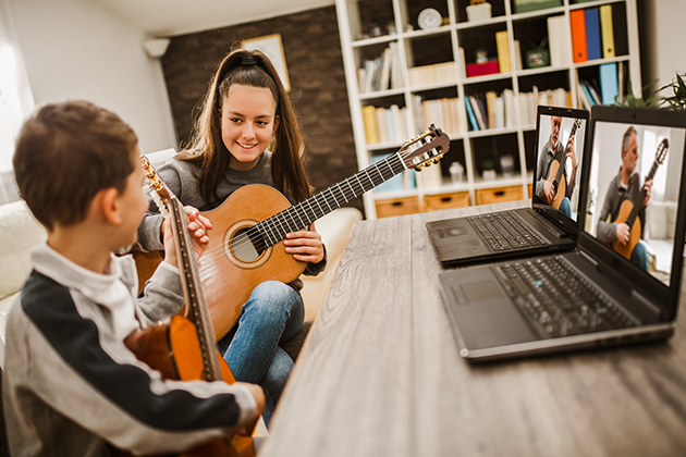 music studio clients, playing guitar online