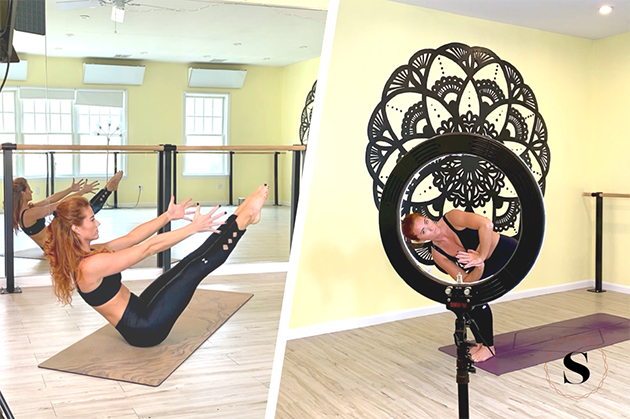 solntse hot yoga, Ina went all out when it came to delivering the best online classes to her community, by using extra equipment like a ring light, a tripod, and an external microphone system.
