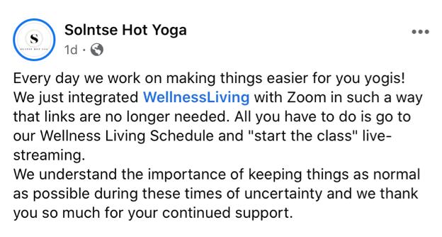 solntse hot yoga, Facebook post for the blog