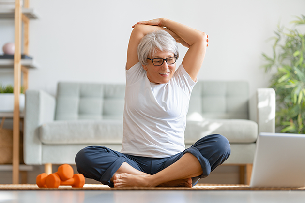 fitness studio, senior woman exercising at home