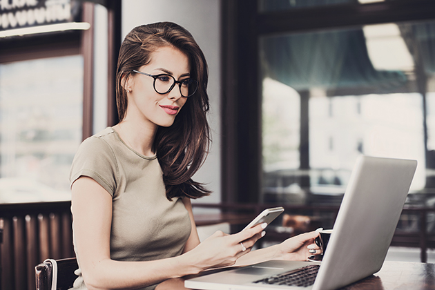 business advisor, young beautiful girl on computer