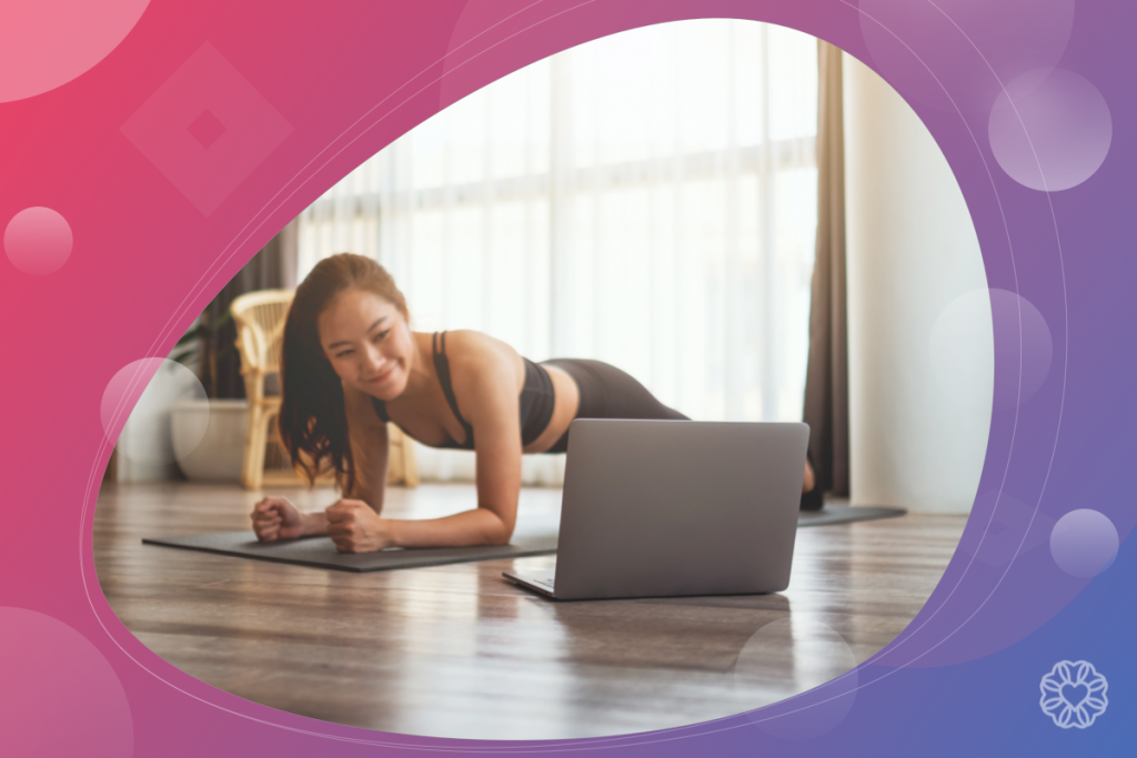 fitness industry trends, woman and virtual fitness class