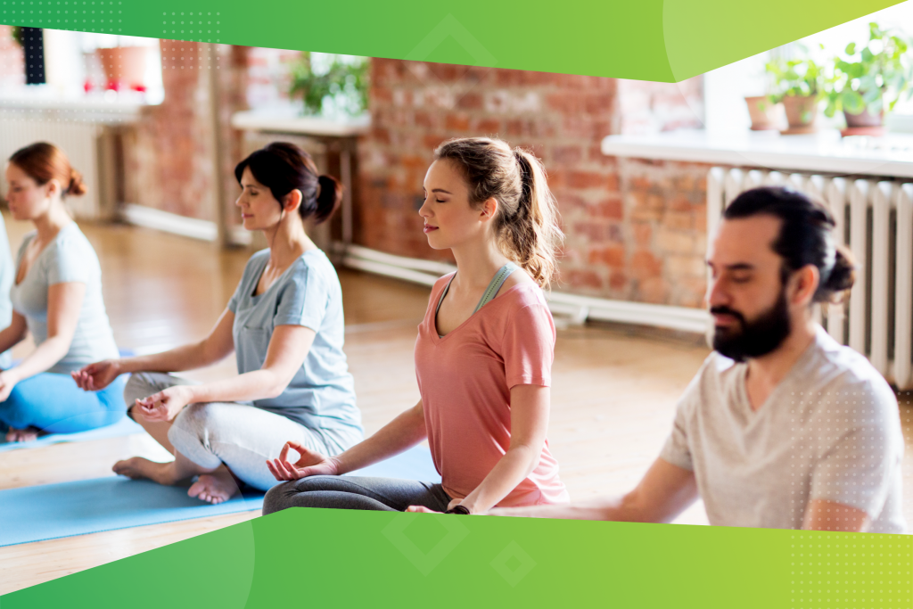 New Year's resolution, group of people meditating