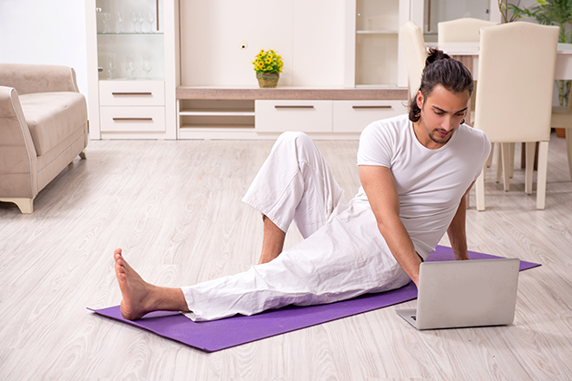 hybrid martial arts studio, man doing online martial arts class
