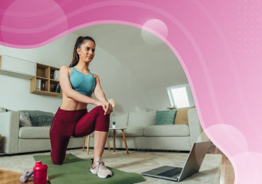 online fitness challenges, woman taking online fitness class