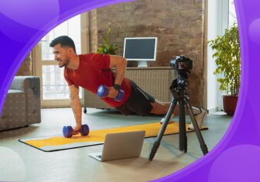 virtual gym, man with virtual gym