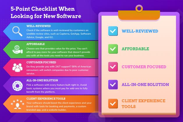 business management software, checklist graphic