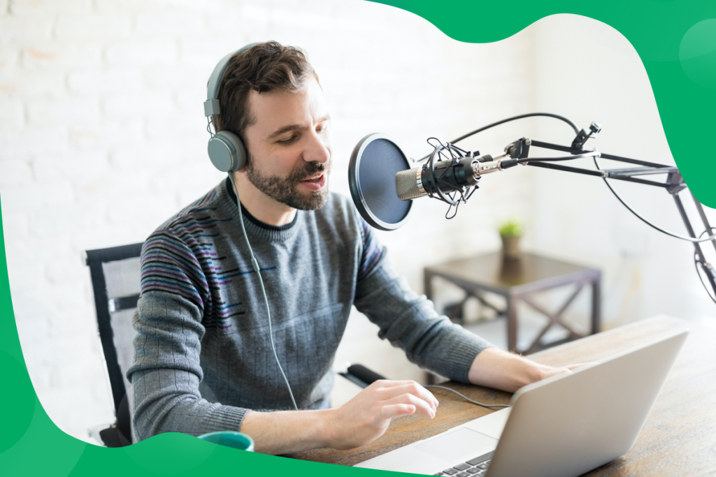 fitness business podcasts, a man and a microphone