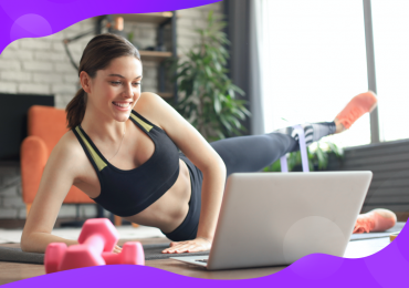hybrid fitness business, woman taking virtual fitness class