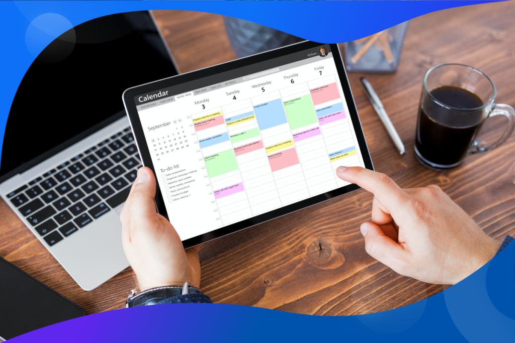 content calendar strategy, iPad with a calendar