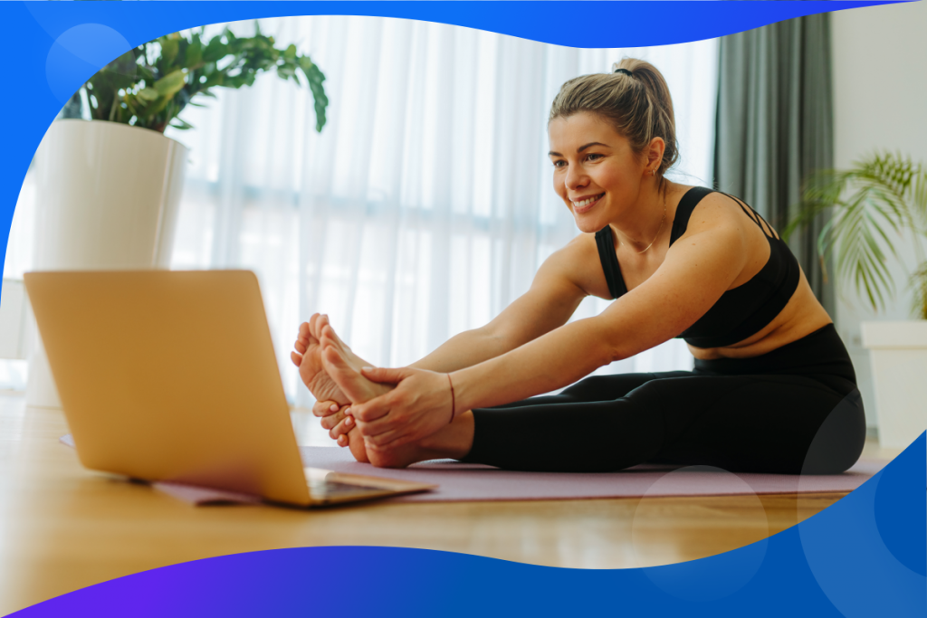 customer behavior trends, fitness woman at a computer