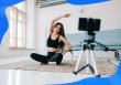 video marketing stats, woman filming a class