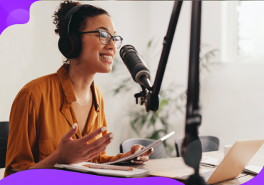 podcast, woman with podcast