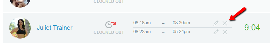 Remove the time clock entryy