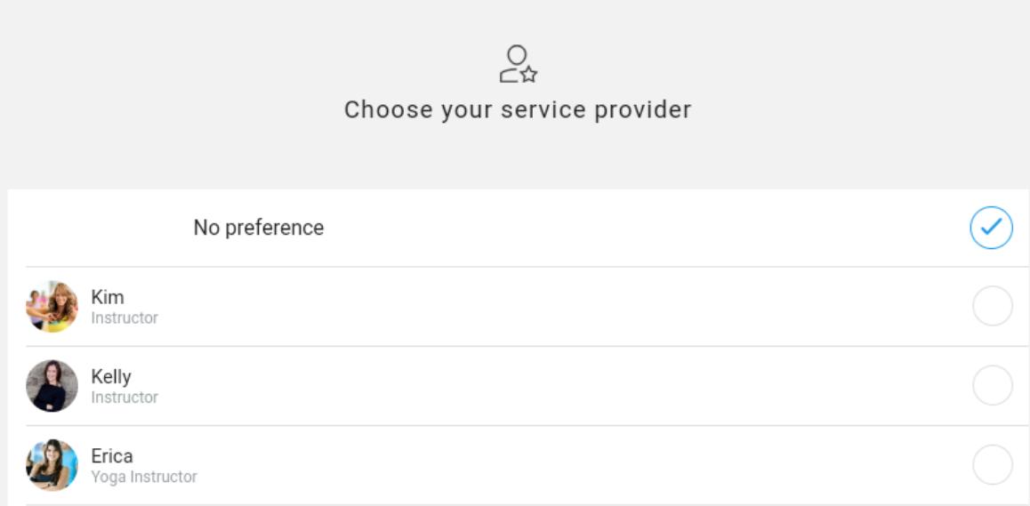 Select a service provider