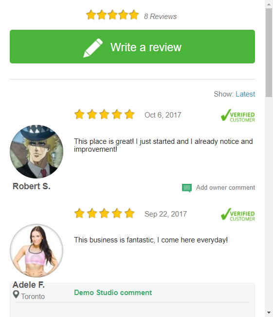 An example of the Review Widget