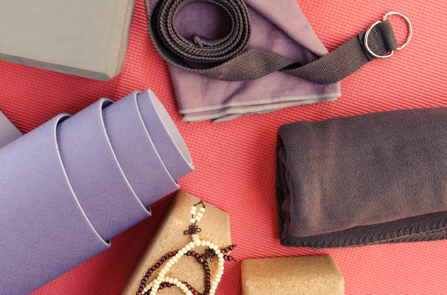 Yoga Studio Merchandising, yoga mat and props