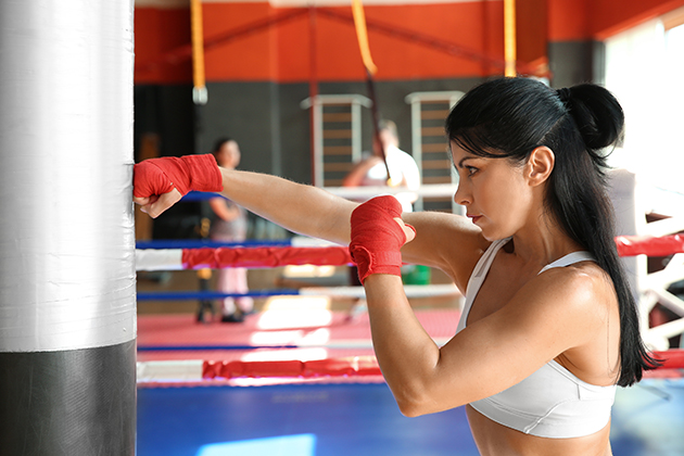 martial arts studio, female boxer