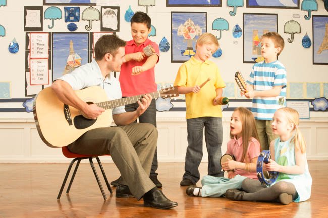 music school branding, guitar teacher with kids
