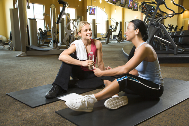 New year's fitness resolutions, personal trainer and client