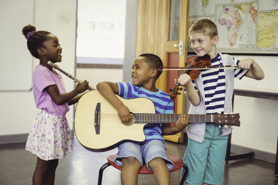 loyalty rewards program, smiling kids playing music