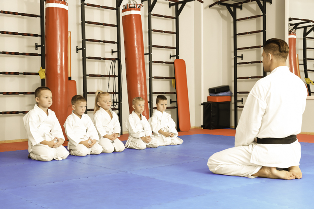 martial arts branding, karate instructor and students