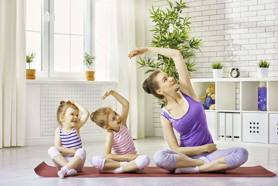 yoga lessons for kids, mom and daughter yoga
