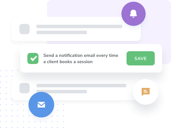 Connect with your studio and gym users by sending automated SMS, emails and push notifications