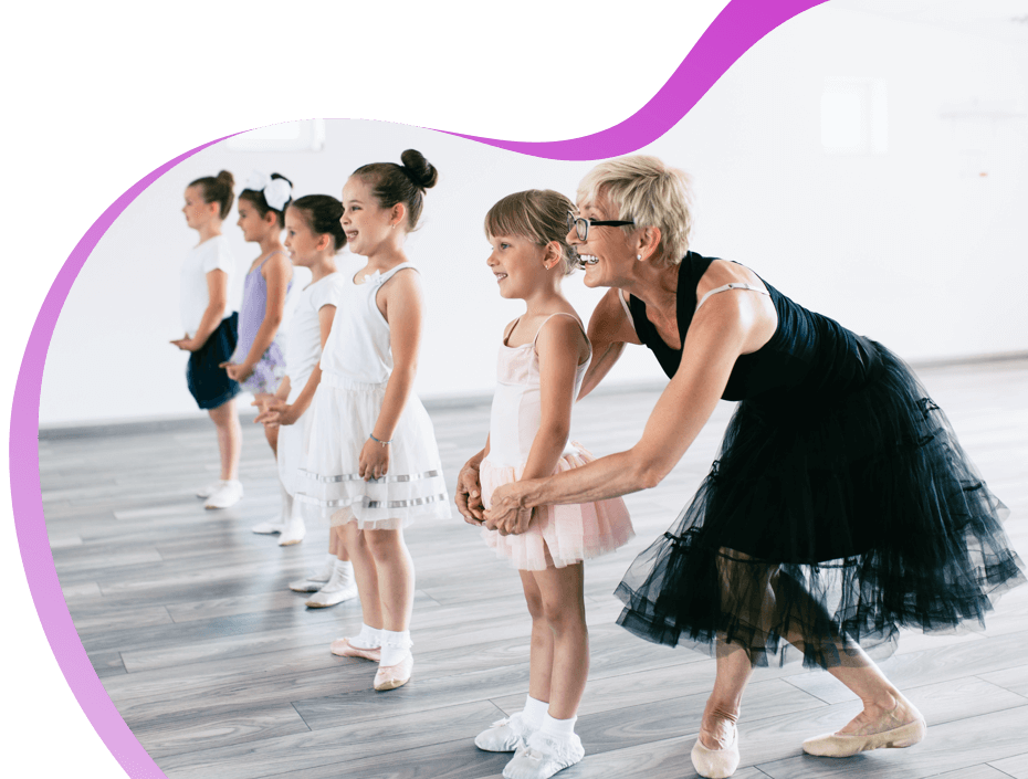 Girls learning how to dance at a dance studio.
