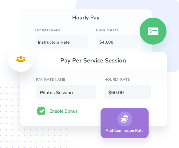 Customize and automate pay rates for your studio and gym employees